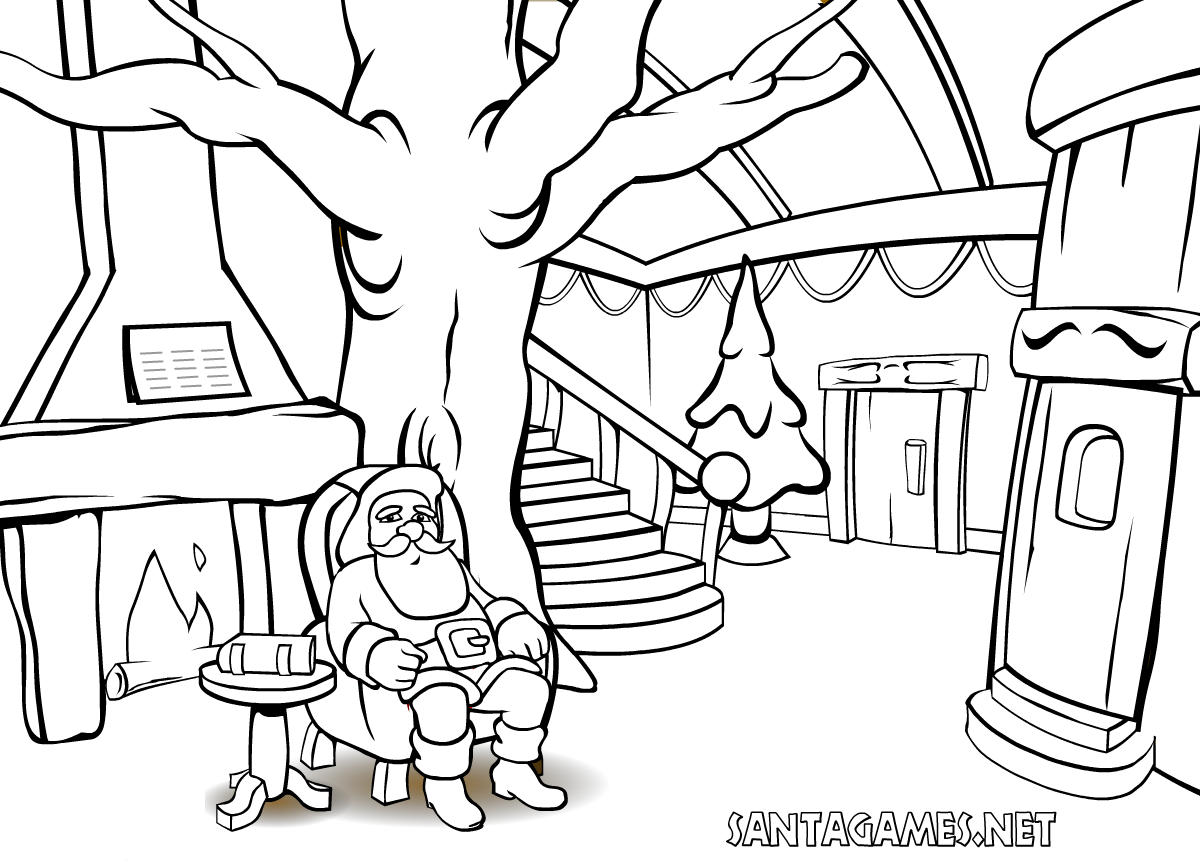 Christmas Coloring Pages > Santa Claus in front of the fire