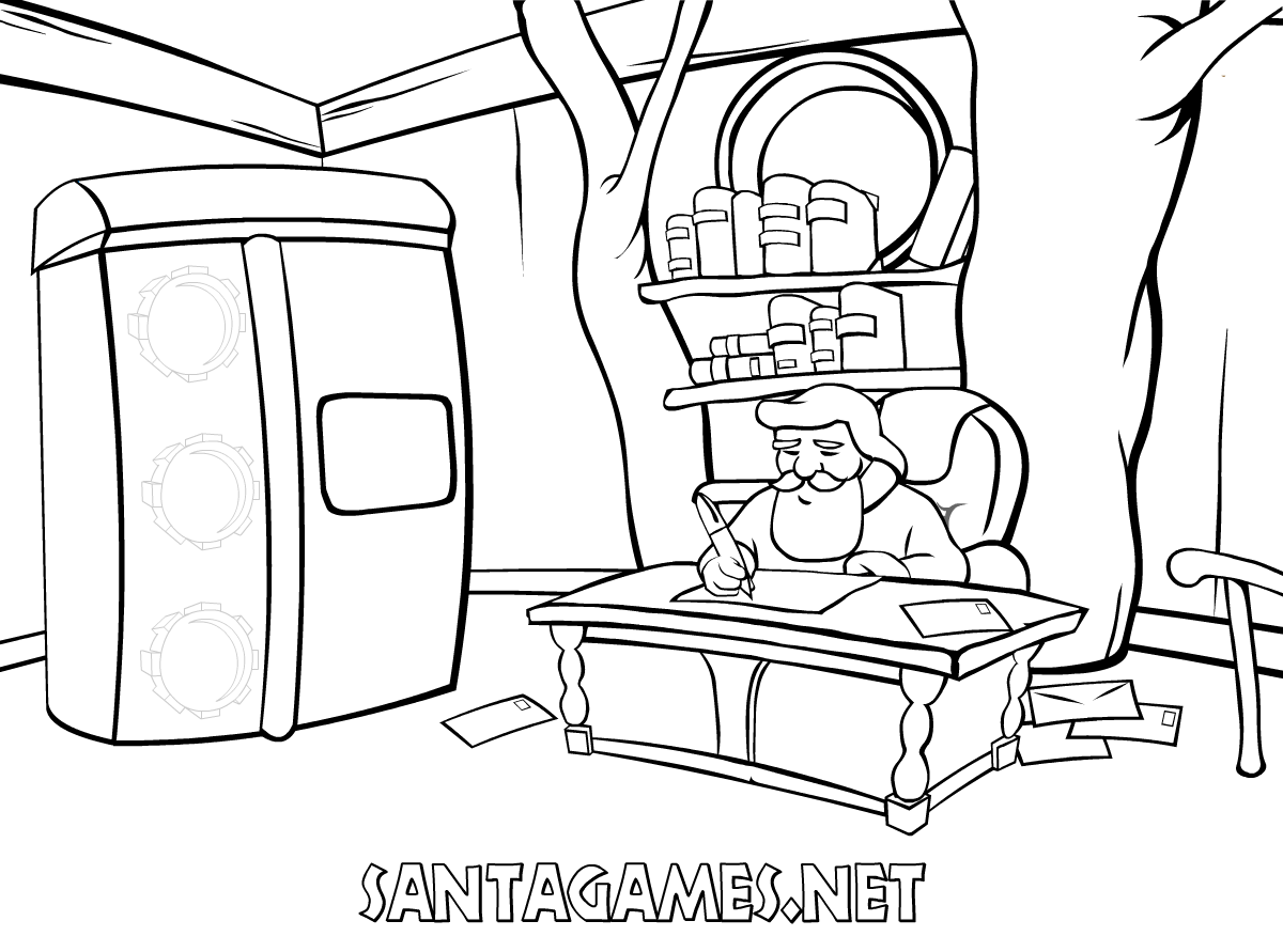 Santa Claus in is office | Coloring Page