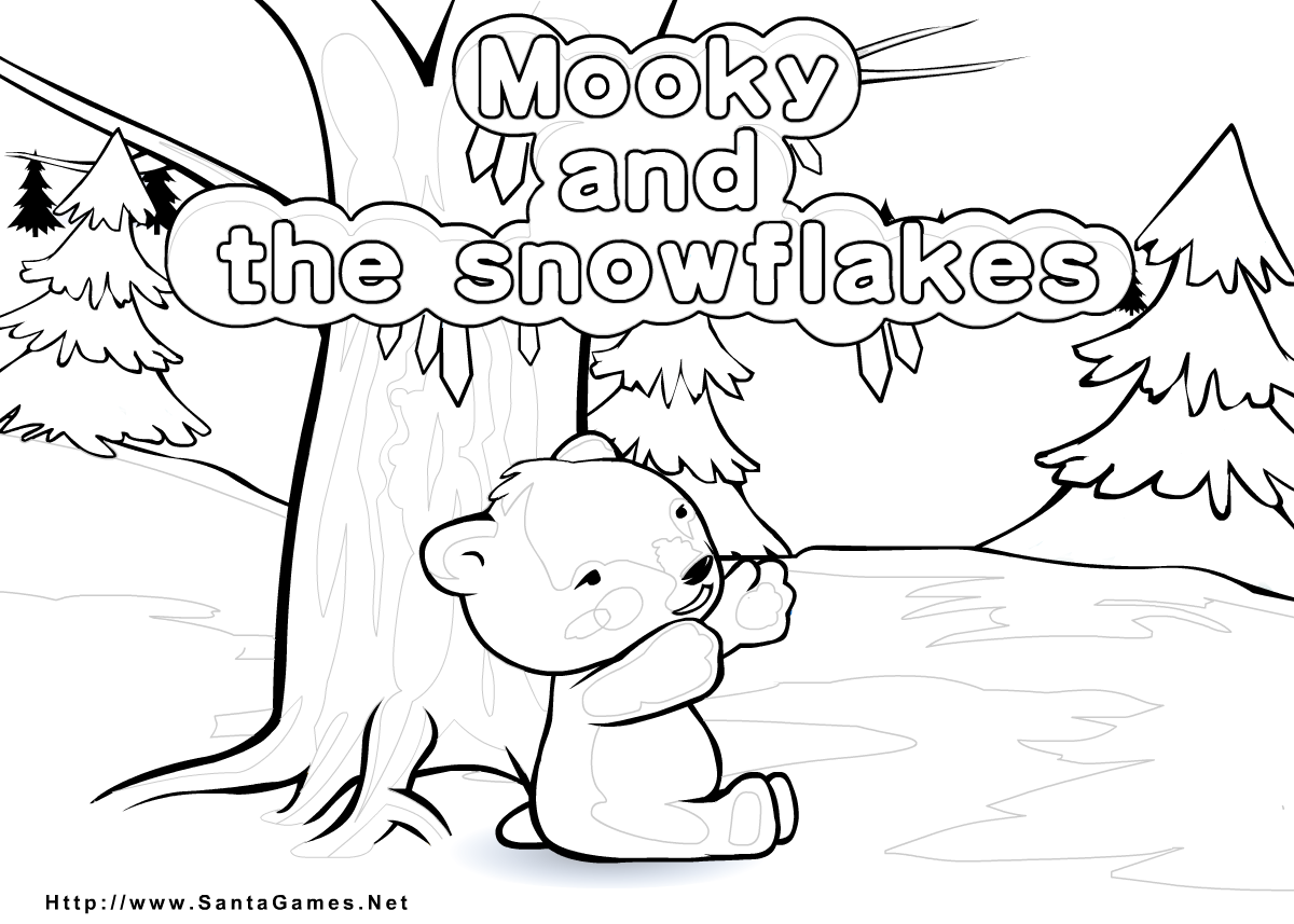 Mooky and the snowflakes | Coloring Page