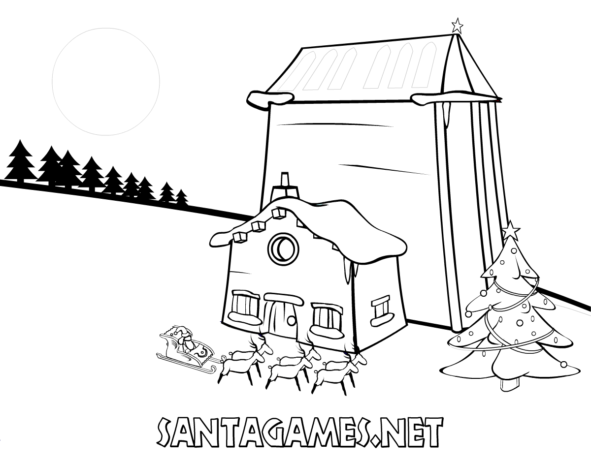 Coloring Pages > Santa Claus on his sleigh - SantaGames.Net
