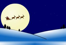 Santa in a sleigh drawn by flying reindeer - Christmas Ecard