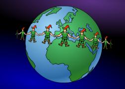 The dance of Santa Claus' elves - Christmas Ecard